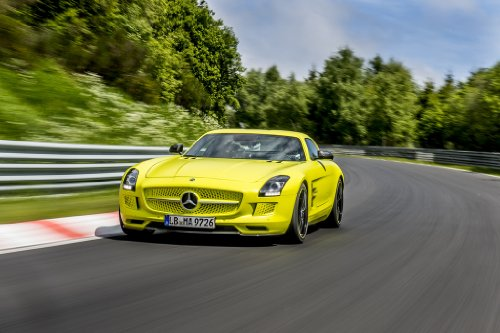 """Mercedes-Benz Sls Amg Electric Drive Nuerburgring (2013) Car Art Poster Print On 10 Mil Archival Satin Paper Yellow Front Speed View 24""""X18"""""""