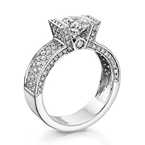 Diamond Engagement Ring 1 1/2 ct, H Color, SI1 Clarity, GIA Certified, Round Cut, in 18K Gold / White