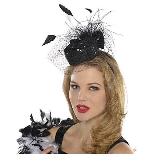 Amscan Nifty 50's Theme Party Pillbox Fashion Headband, Black, 7 x 5