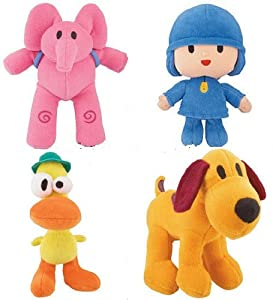 Pocoyo & Friends Mini Plush Doll Figure Set of 4 - Pocoyo, Pato, Loula