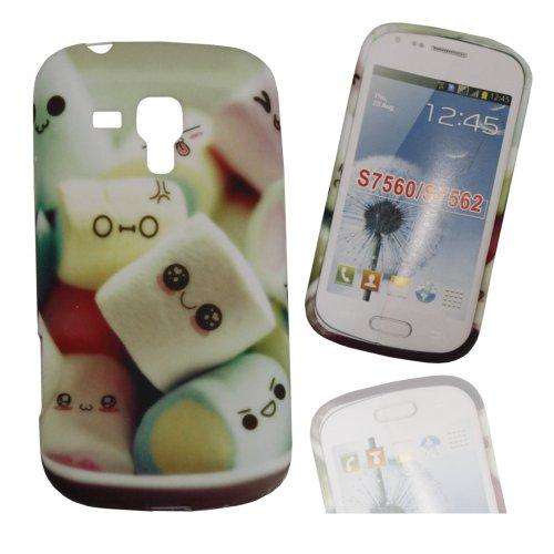 Jelly Case Silikoncase Hülle Etui Handytasche Handykondom Back Cover mit MARSHMALLOW / SMILEYS für Samsung Galaxy Trend GT-S7560 / Duos GT-S7562 / Plus GT-S7580 / Duos 2 GT-S7582 inkl. World-of-Technik Touchpen