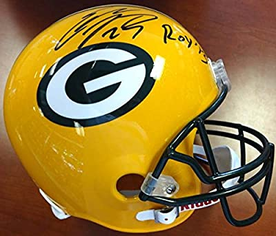 """Eddie Lacy Autographed Green Bay Packers Full Size Helmet """"roy '13"""" Psa/dna Stock #78768"""