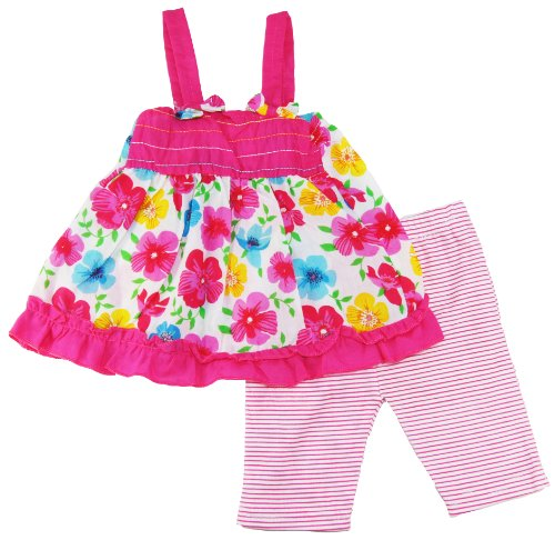 Coney Island Baby Girls Spring Pink Pansy Flowers Top Dress & Pants front-268996