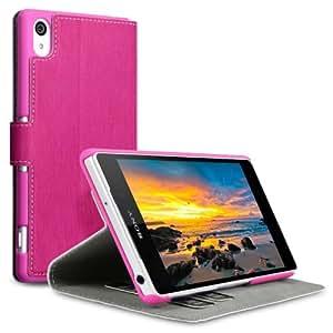 Terrapin Leder Tasche Case Hülle im Bookstyle mit Standfunktion Kartenfächer für Sony Xperia Z2 (Pink)