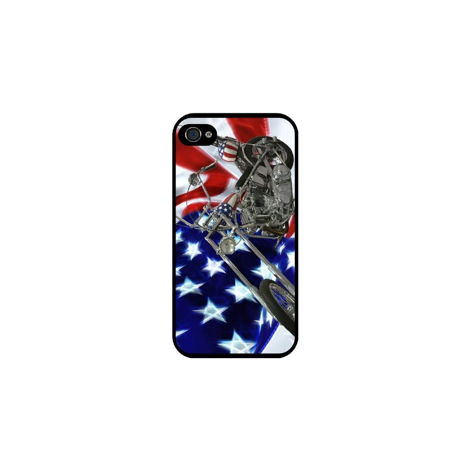 Rikki KnightTM American Flag Harley Davidson Black Hard Case Cover for Apple iPhone® 4 & 4s Universal Verizon   Sprint   AT&T   Unisex   Ideal Gift for all occassions