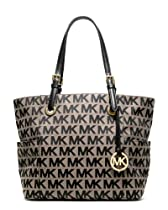 Big Sale MICHAEL Michael Kors Jet Set Monogram Signature Jacquard Tote,Beige/Black/Black,one size