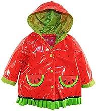 Wippette Little Girls39 Waterproof Hooded Ruffle Watermelon Raincoat Jacket