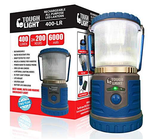 Tough Light LED Rechargeable Camping Lantern -Hiking Light -Emergency Cell Phone Charger -200 Hours of Light from a Single Charge -Longest Lasting Rechargeable Lantern On Amazon -2 Year Warranty!