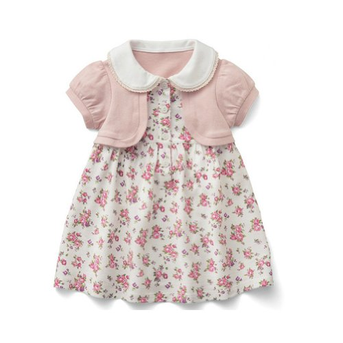 StylesILove Pink Flowers Short Sleeve One Piece Baby Kids Girl Dress