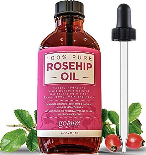 Rosehip Oil - 100% Pure and EcoCert Certified Organic - Cold Pressed Rosehip Seed Oil by goPURE Naturals - LARGE 4 OZ BOTTLE - Highest Quality - Therapeutic Grade