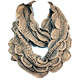 Elegant Khaki Brown Soft Woven Infinity Loop Figure Eight Endless Scarf Wrap