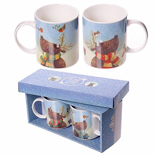 Set Regalo con 2 tazze mug colazione Design Renne Natalizie