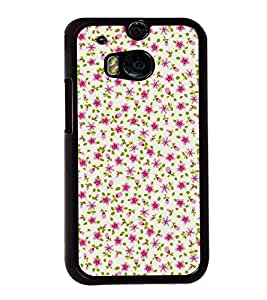Pink Flowers Pattern 2D Hard Polycarbonate Designer Back Case Cover for HTC One M8 :: HTC M8 :: HTC One M8 Eye :: HTC One M8 Dual Sim :: HTC One M8s