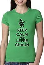 Womens Keep Calm And Leprechaun T Shirt Funny St Patricks Day Shirt L