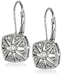 Sterling Silver Cubic Zirconia Round Lever Back Earrings (2/5 cttw)