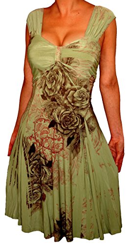 Of2 Funfash Sage Green Floral Slimming Empire Waist Plus Size Dress New 1X 18 20