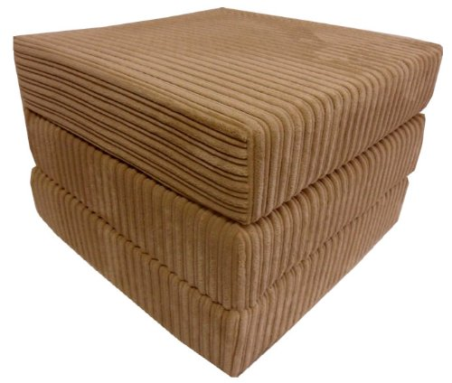 sit n sleep folding seat guest bed futon pouffee fold out chair in brown jumbo cord