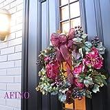 高級造花 パリスタイル 玄関ドア用フラワーリース(大)