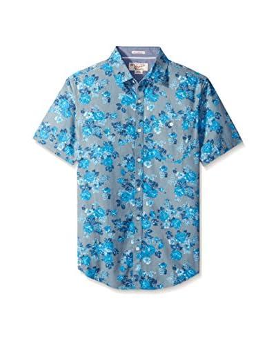 Original Penguin Men's Rose Print Poplin Short Sleeve Shirt