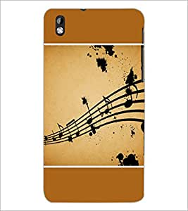 PrintDhaba Music Notes D-1428 Back Case Cover for HTC DESIRE 816 (Multi-Coloured)