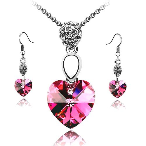 Swarovski Crystal Heart Pendant Necklace and Earring Set Dark Pink