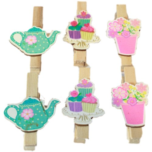 West5Products 6x Mini Wooden Tea & Cake Party Craft Pegs & Card Pegs