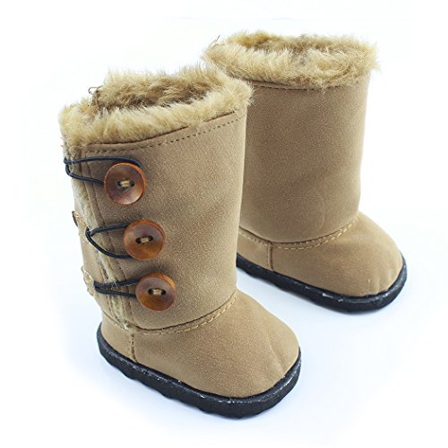 Ebuddy Brown Button Style Snow Doll Shoes Boots Fits 18 Inch Girl Dolls - 1