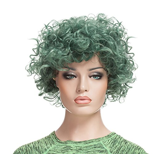 [Afro Wig, YOPO Short Curly Green Wigs for Women, Free Cap & Bobby Pins, Cosplay Wig(Green)] (Neon Green Wigs)