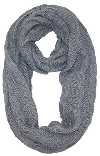 Bwh Women'S Solid Color Cable & Rib Stitch Knit Infinity Scarf (One Size) - Gray