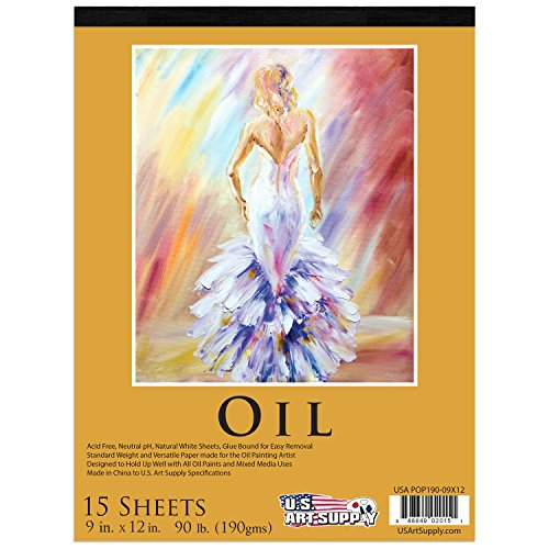 us-art-supply-9-x-12-premium-heavy-weight-oil-painting-paper-pad-90-pound-190gsm-pad-of-15-sheets