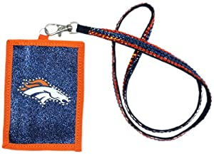 NFL Denver Broncos Beaded Lanyard with Nylon Wallet by Rico