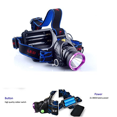 1 Pc Grandiose 2200LM Headlamp Aluminum Waterproof Headlight LED Flashlight Color Purple and Black