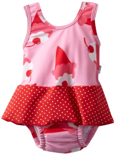 i play. Baby-girls Infant Ultimate Swim Diaper Skirty Tanksuit,Light Pink Ice Cream,Large (12-18 Months)