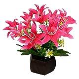 Thefancymart Desktop artificial Lilly Flower arrangement with wood pot (8 inchs/20 cms)