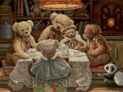 Teddy Bear Tea Party 18 X 24 Art Print On Canvas
