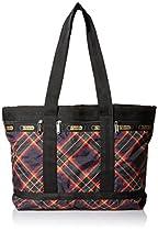 LeSportsac Medium Travel Tote Bag, Cozy Plaid Black, One Size
