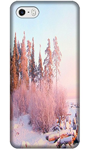 Phones Accessories Beautiful White Snow Tree Vellege Design Cases For Iphone 5/5S # 13