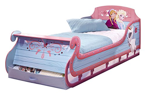 Reine de Neiges 865840 Lit Traineau Junior Bois Bleu 210 x 96 x 79,50 cm