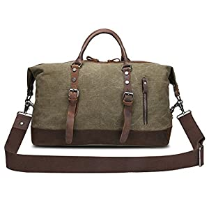 Kattee Genuine Leather Trim Canvas Travel Duffel Bag