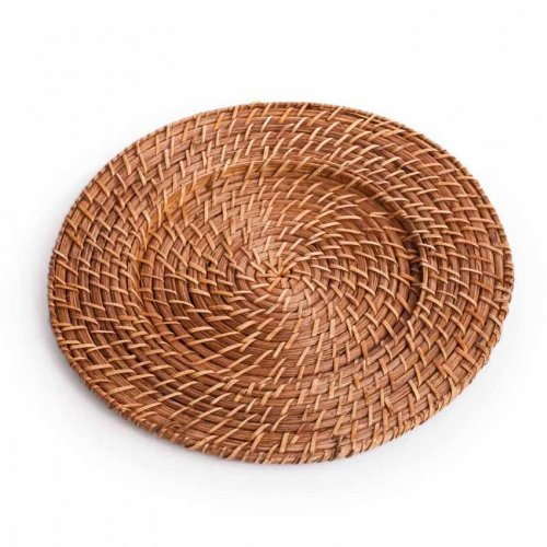 Koyal Wholesale Round Rattan Charger Plates, Honey Brown, Set Of 24 front-1056086