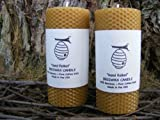 "100% Beeswax Pillar Candles - Set of Two - 5.5"" Pillars - Raw Beeswax - With Free upgrade to USPS Priority Mail"