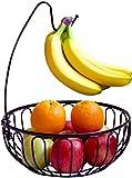 DecoBros Wire Fruit Tree Bowl with Banana Hanger, Bronze