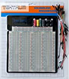 TEKTRUM EXTERNALLY POWERED SOLDERLESS 3220 TIE-POINTS EXPERIMENT PLUG-IN BREADBOARD WITH ALUMINUM BACK PLATE AND JUMPER WIRES FOR PROTO-TYPING CIRCUIT/ARDUINO