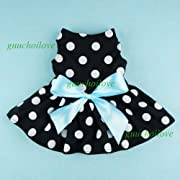 Fitwarm? Cute Polka Dot Ribbon Dog Dress Dog Clothes Cozy Dog Shirt Pet Dress, X-Small
