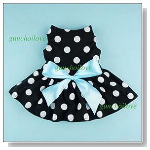 Fitwarm? Cute Polka Dot Ribbon Dog Dress Dog Clothes Cozy Dog Shirt Pet Dress, X-Small