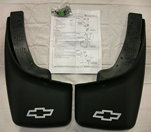 GM # 12498342 Splash Guards - Rear Molded Set - Black with Chevy Bowtie Logo (Mud Flaps For 2007 Chevy Suburban compare prices)