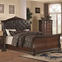 Hot Sale Maddison Eastern King Sleigh Bed w/ Upholstered Headboard