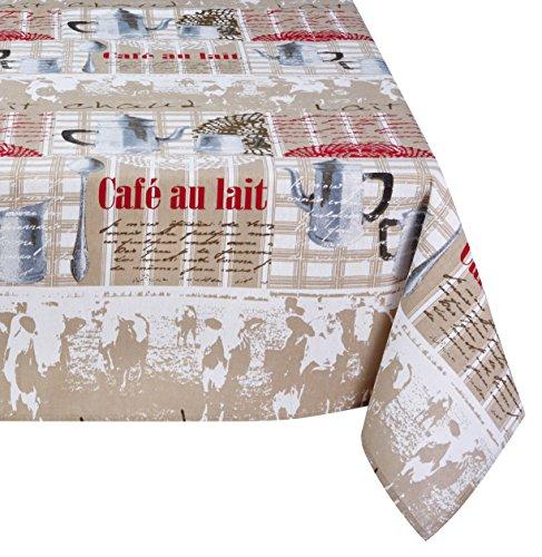 Lovely Casa N64896001 Milcherzeugung Tischdecke aus recycelter Baumwolle, Ecru/Weiß/Rot, Größe: 140 x 140 cm