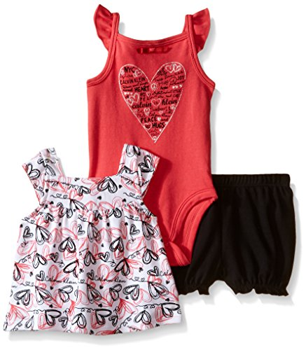 Calvin Klein Baby Girls' Printed Top, Solid Bodysuit and Short Set, Red/Black, 6-9 Months