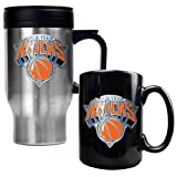 New York Knicks NBA Stainless Steel Travel Mug & Black Ceramic Mug Set - Primary Logo
